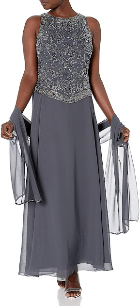 Elegant Grey Mother of The Groom Dresses with Scarf