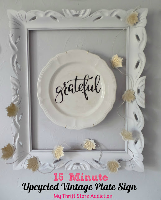 15 minute upcycled vintage plate sign