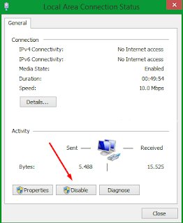Disable jaringan yang menyebabkan wifi tidak konek