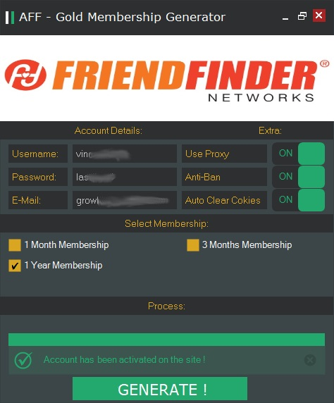 AdultFriendFinder - GOLD Membership Account Generator