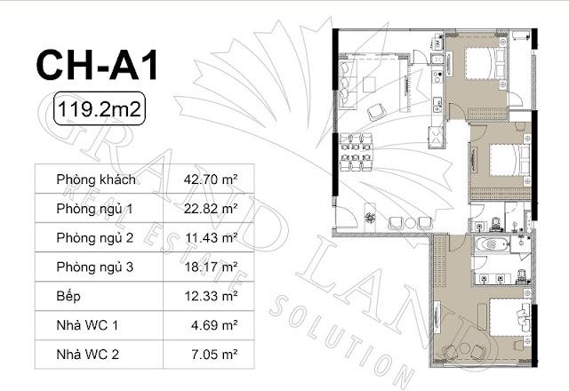Thiết kế căn hộ 3 phòng ngủ, 119m2 tại chung cư Harmony Square