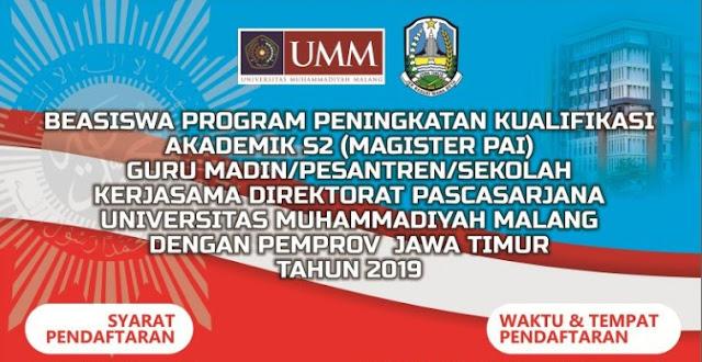 Poster UMM Buka Beasiswa S2 GPAI Kerjasama dengan Pemprov Jatim