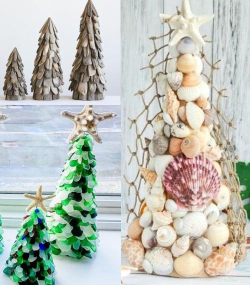 Tabletop Mini Cone Trees Seashells Driftwood Seaglass Mini Trees