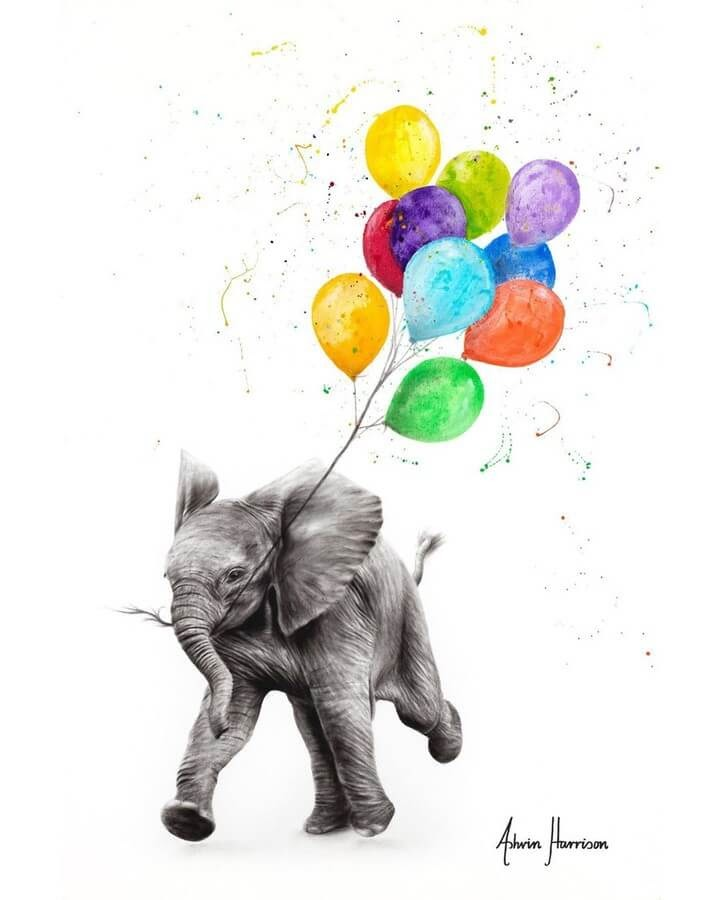 08-Elephant-With-Color-Balloons-Ashvin-Harrison-Acrylic-Paintings-www-designstack-co