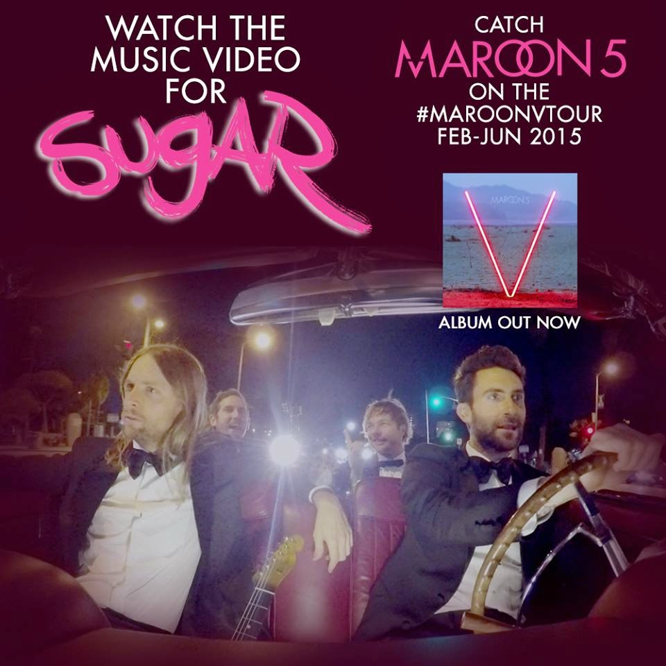Maroon 5 Sugar single nou videoclip amuzant cea mai noua melodie Adam Levine new video clip miercuri ianuarie 14.01.2015 official video YOUTUBE ultima piesa originala HIT spargatori de nunti nunta recent ultimul cantec Wedding Crashers muzica noua foto Facebook noutati muzicale melodii noi videoclipuri Maroon 5 five albumul nou V LP news video single songs