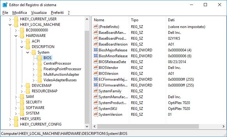 Registro di sistema, informazioni relative al BIOS