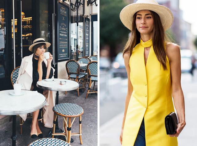 Девушка в элегантном жакете в соломенной шляпе канотье летом в городе