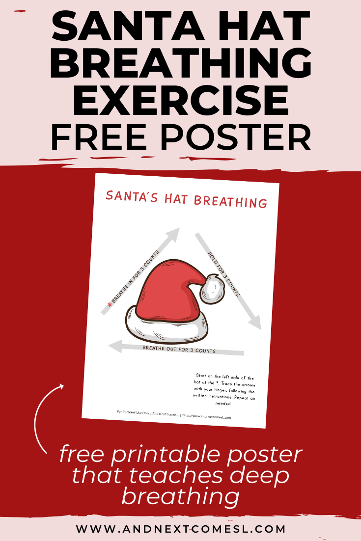Free deep breathing printable for kids inspired by Christmas and Santa