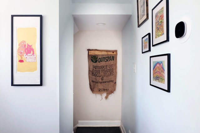 cocoa bean wall art burlap bag Ivory Coast