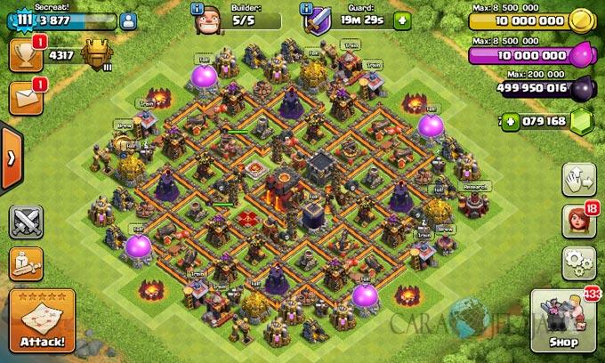 Desain Base Pertahanan Terbaik Untuk Base War TH 10 Update Terbaru 15