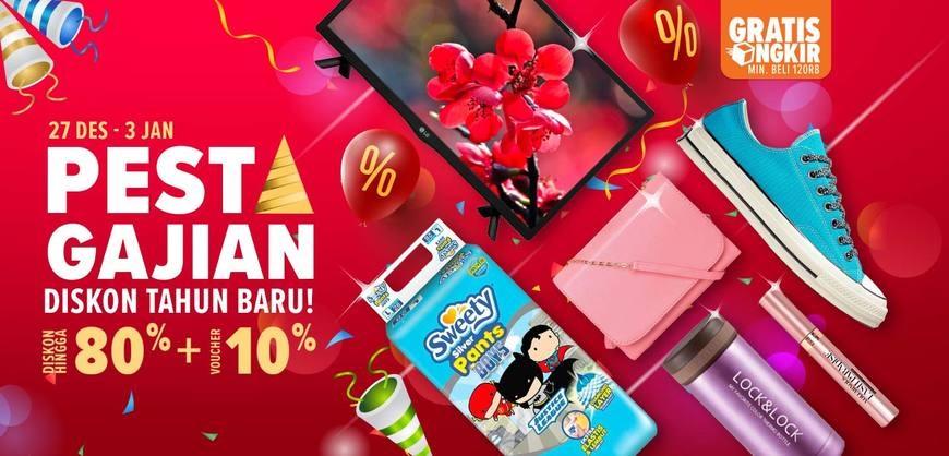 #Lazada - Promo Pesta Gajian Diskon Tahun Baru s.d 80% + Voucher 10% (s.d 3 Jan 2019)