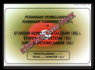 Perangkat Pembelajaran MTs KTSP