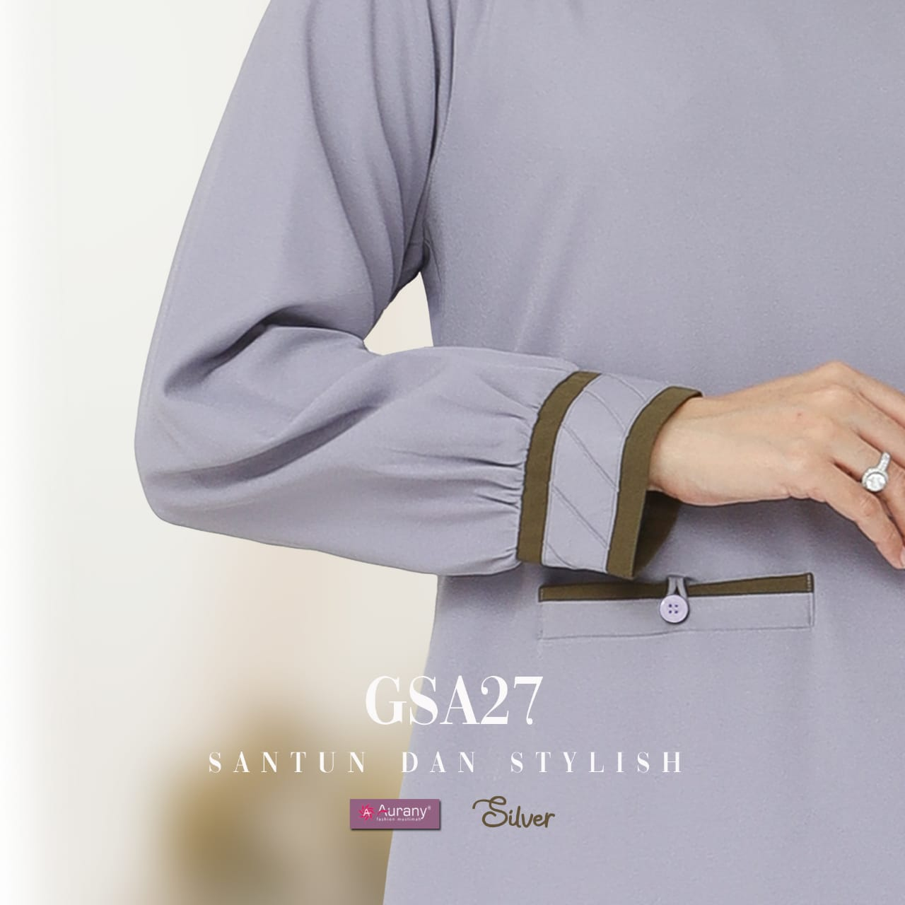 Gamis Cantik Warna Silver by Aurany