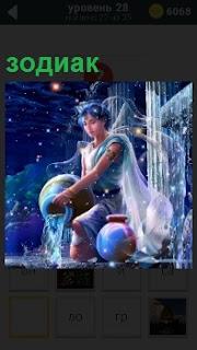 Изображение одного из знаков зодиака. Парень выливает воду из кувшина в синем цвете
