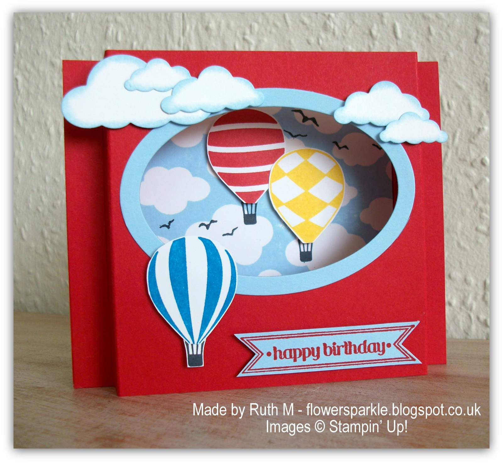 Flower sparkle hot air balloons birthday shadow box card choc chip hot air balloons birthday shadow box card choc chip ginger nuts a cake bookmarktalkfo Image collections