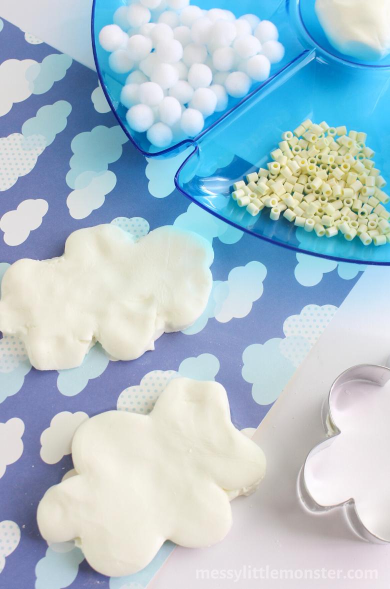Sensory cloud dough activity for kids for preschoolers