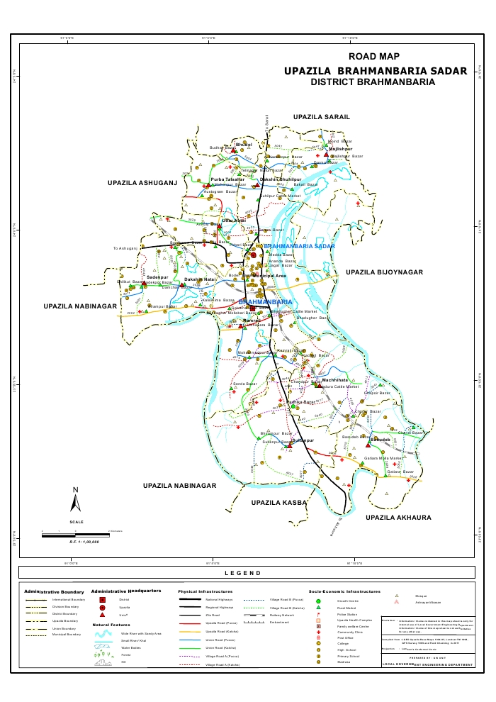 Brahmanbaria Sadar Upazila Road Map Brahmanbaria District Bangladesh