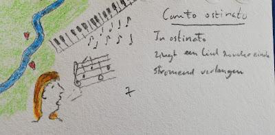 Tekening en haiku Canto ostinato
