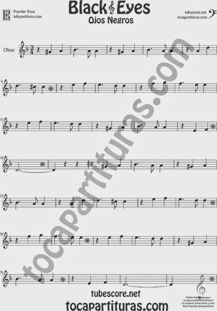 Ojos Negros Partitura de Oboe Sheet Music for Oboe Music Score Black Eyes Popular Rusa