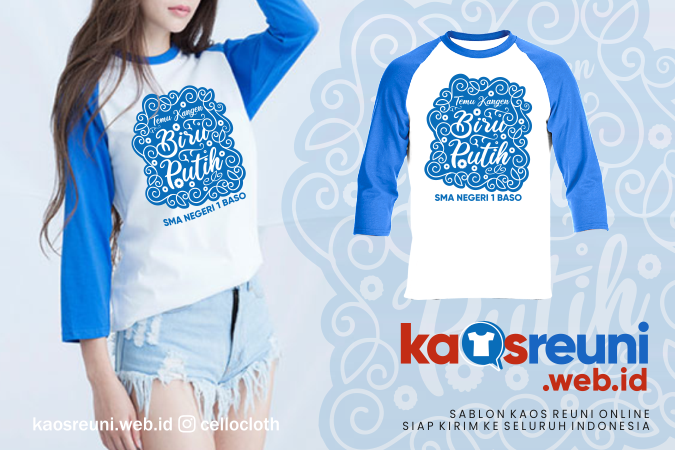 Desain Kaos Reuni Temu Kangen Biru Putih SMA Negeri 1 Baso - Kaos Reuni