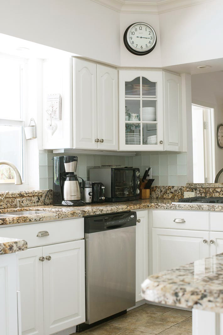 cottage kitchen white granite seafoam green