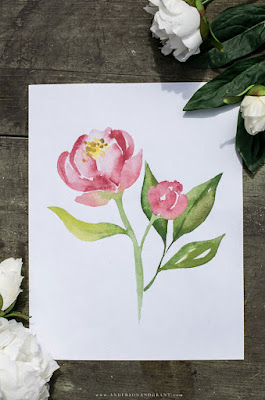 Pink watercolor peony print