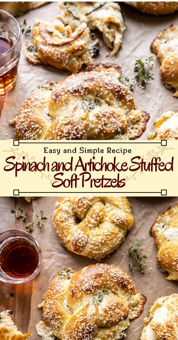 Spinach and Artichoke Stuffed Soft Pretzels #healthyfood #dietketo #breakfast #food