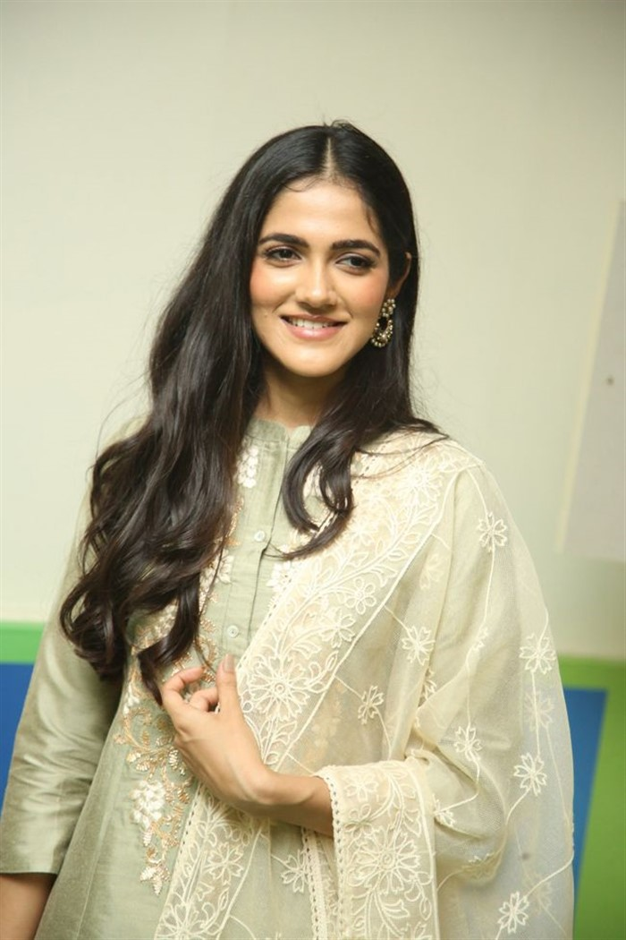 Simran Chowdary Smiles Beautiful in Sandal Color Churidar Dress