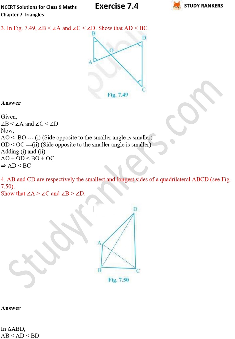 NCERT Solutions for Class 9 Maths Chapter 7 Triangles Exercise 7.4 Part 2