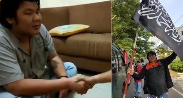 Alhamdulillah, Aktivis Tionghoa yang Tantang Mahfud MD Kibarkan Bendera Tauhid Kini Masuk Islam