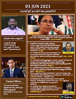 Daily Malayalam Current Affairs 01 Jun 2021
