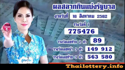 Thai Lottery 16 August 2019 Live Result in English Online Update