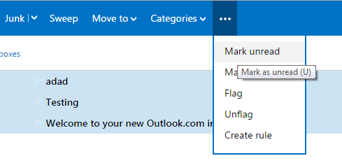 Mark read email in hotmail