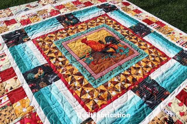 Round Robin Rooster quilt closeup