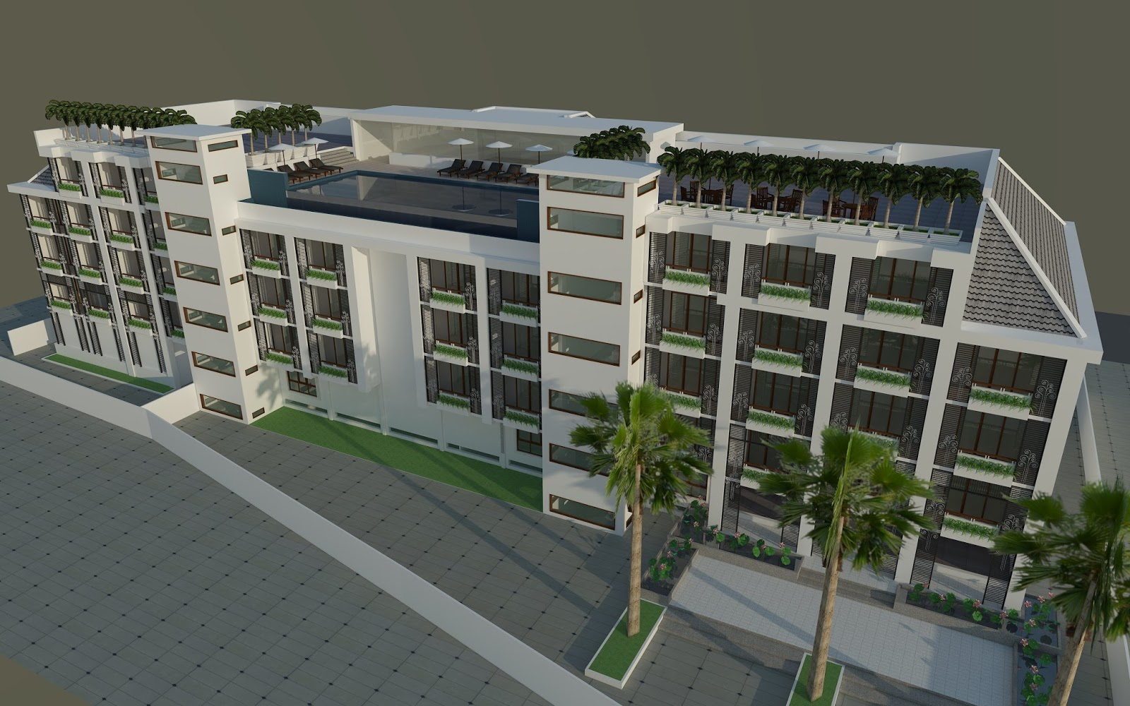 Architect hotel exterior design sketchup model ref 001 for Architectural design with sketchup