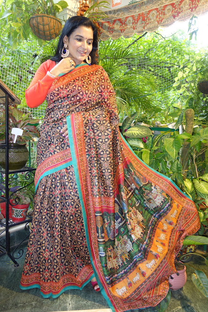 Patola pichwai digital print saree