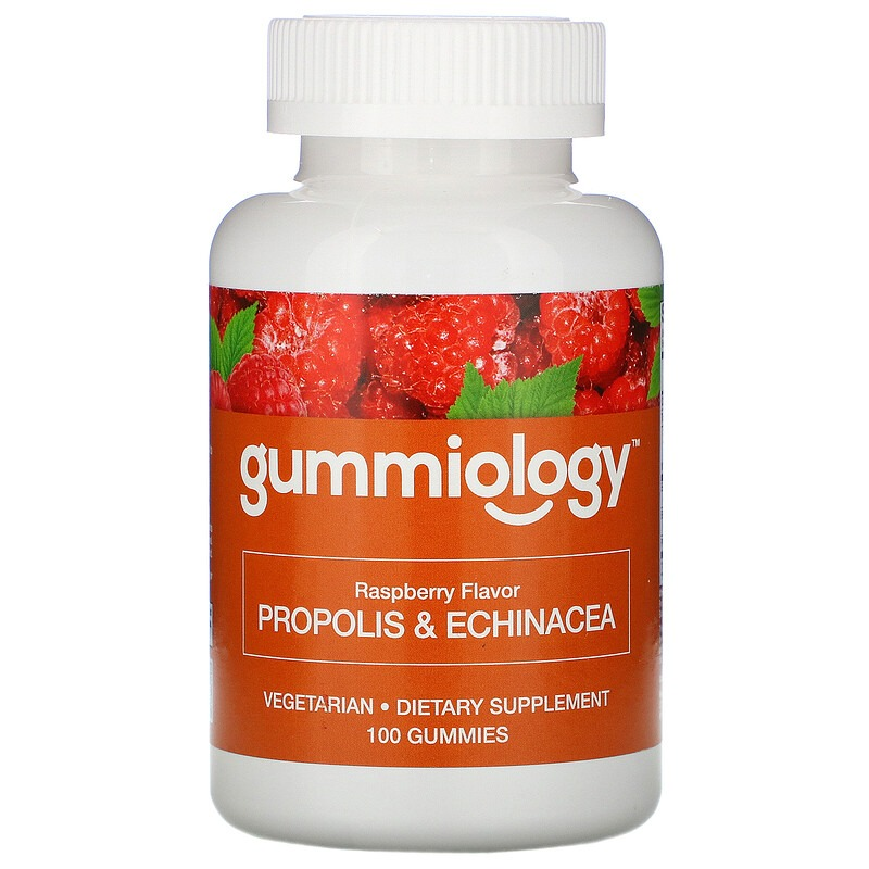 Gummiology, прополис с эхинацеей для взрослых в жевательных таблетках, с натуральным вкусом малины, 100 вегетарианских жевательных таблеток
