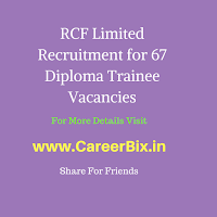 RCF Limited Recruitment for 67 Diploma Trainee Vacancies