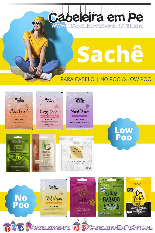 Sachê de Hidratação para Cabelos - Produtos Sachê para Cabelos Low Poo ou No Poo (Magic Beauty, Bio Extratus, Euroderm e Vitaseiva)