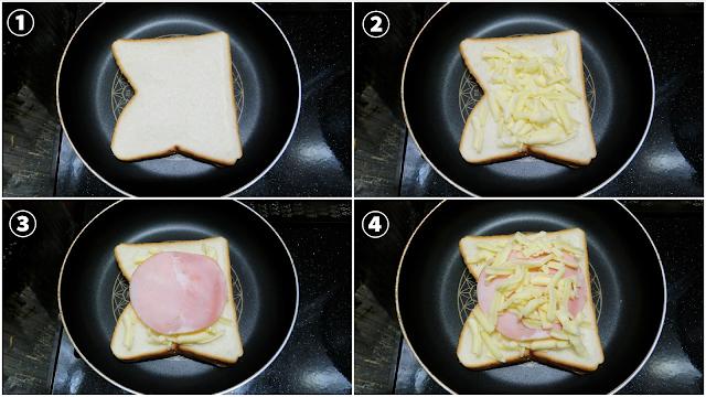 フライパンを弱火~中火にかけ、バターを塗った面を下にして食パンを置き、チーズ、ロースハム、チーズの順に置きます。