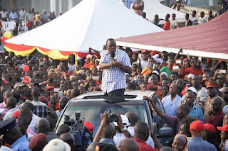 President Kenyatta addressing people at Kwale county. 13/03/2017. PHOTO | Courtesy PSCU