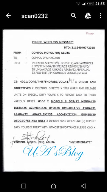 BREAKING: Police withdraw all MOPOL on special duties in Benue (See Letter)