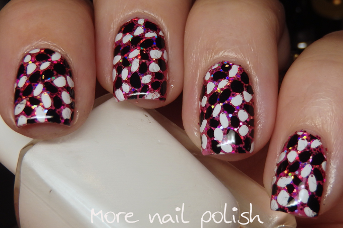 Pebble stamping over glitter with Clear Jelly Stamper ~ More Nail Polish