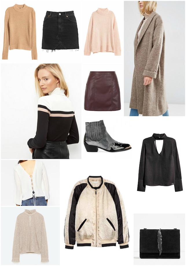 AW16, wishlist, Zara, ASOS, New Look, H and M, bomber jacket, pastel, pink, Autumn, transitional, high neck jumper, Victorian, fashion, style, topshop, denim skirt,