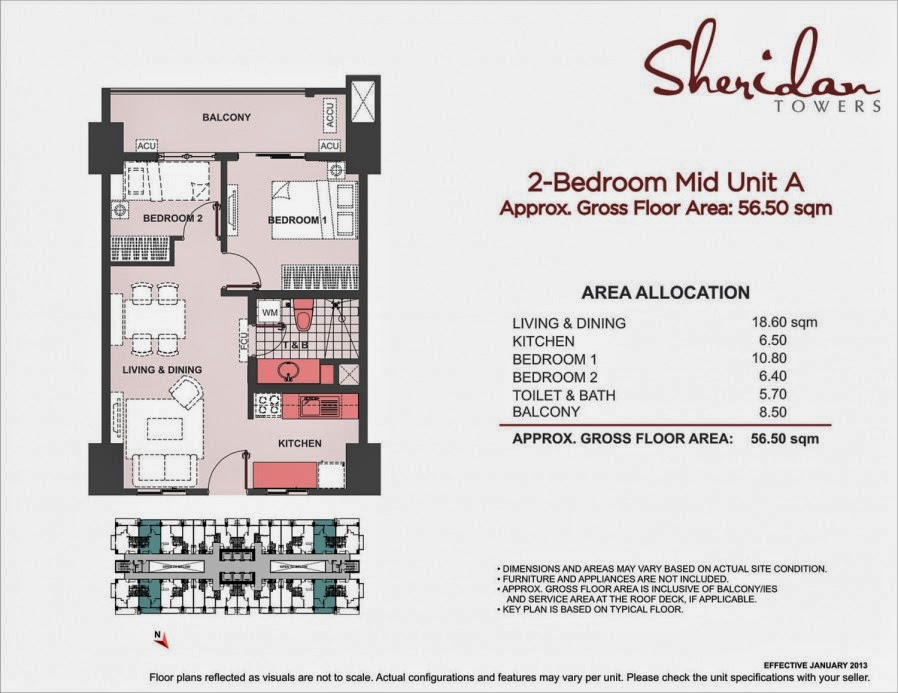 Sheridan Towers 2-Bedroom Unit-A 56.50 sqm