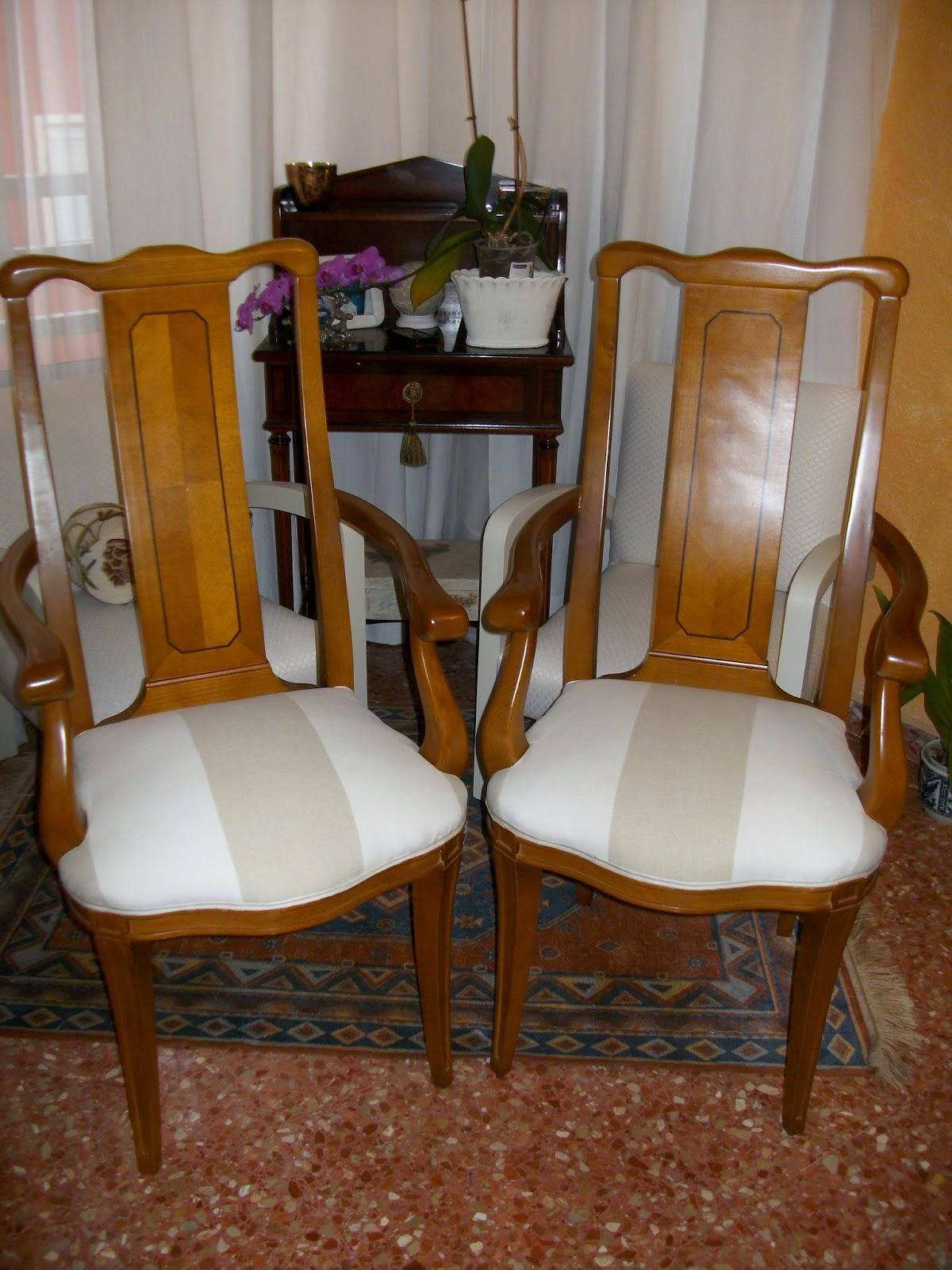 El blog de la restauradora tapizado de dos sillas de comedor con brazos - Tapizado de sillas de comedor ...