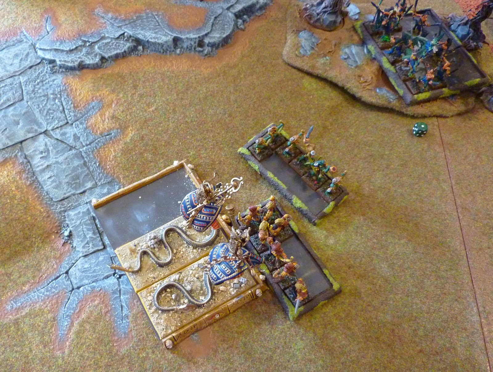 A Warhammer Fantasy Battle Report between Wood Elves and Tomb Kings.