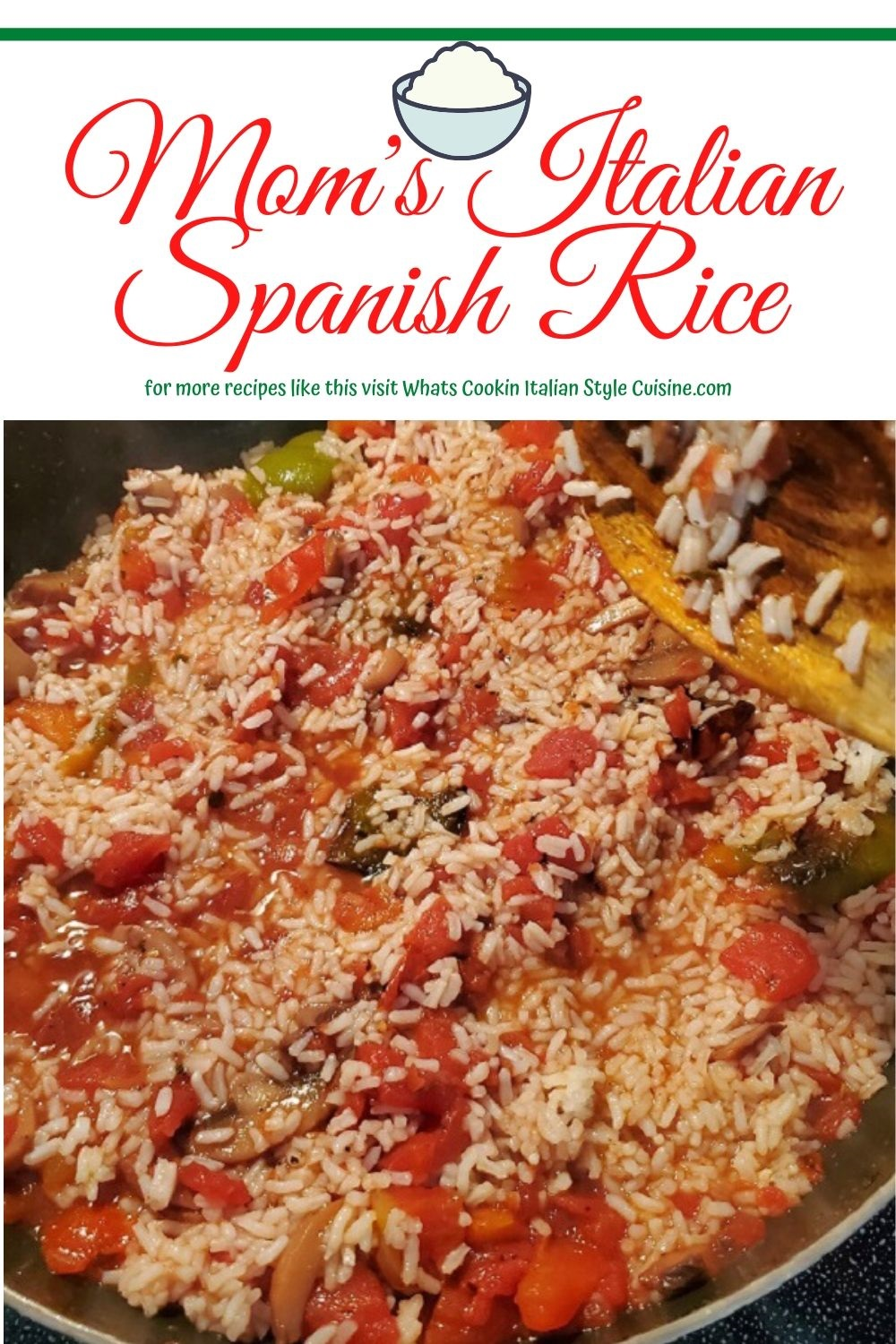 this is a pin for later mom's recipe for spanish rice