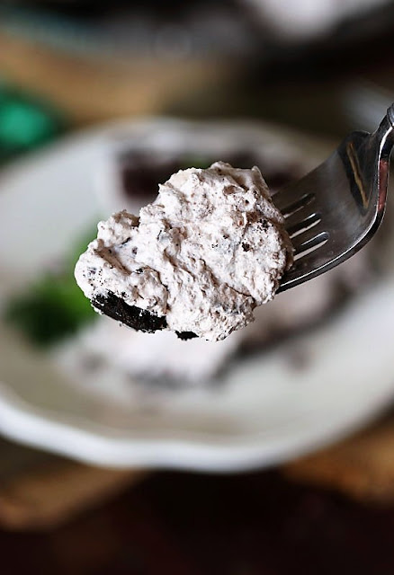 Bite of No-Bake Mint Chocolate Chip Pie On a Fork Image