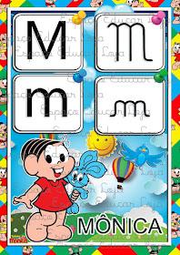 Cartazes Alfabeto Turma Da Monica 4 Tipos De Letras Ilustrado Em
